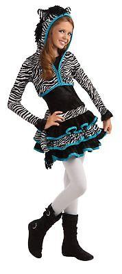 Zebra Drama Queens Hoodie Animal Print Fancy Dress Halloween Teen Costume M - Teen Zebra Kostüm