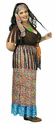 Hippie Kostüm Damen langes Kleid Wahrsagerin große Größen Karneval Fasching