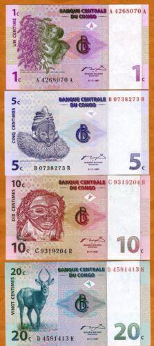 Congo D. R. Fractional Set 1;5;10;20 Centimes 1997, UNC