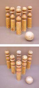 Anciennes QUILLES bois x6 balle bois vintage jeu jouet old wooden bowling - France - État : Occasion: Objet ayant été utilisé. Consulter la description du vendeur pour avoir plus de détails sur les éventuelles imperfections. ... Matire: Bois - France