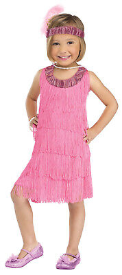Flapper Baby Costume (1920's Flapper CUTE Costume Dress Up Gatsby Pink Fringe Headband Child)