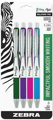 Zebra Pen Z-grip Flight Retractable Ballpoint Pen Bold Point 1.2mm Assorted..