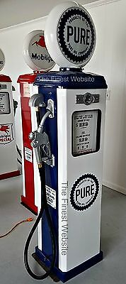 NEW PURE GAS PUMP OIL ANTIQUE REPLICA REPRODUCTION - FREE SHIP* -  WHITE & BLUE