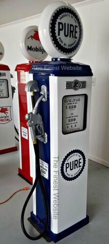 NEW PURE OIL RETRO ANTIQUE REPLICA REPRODUCTION GAS PUMP - WHITE & BLUE