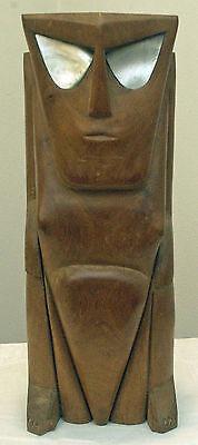 LARGE MID CENTURY MICRONESIA PALAU YAP HAND CARVED WOOD MONKEY MAN SCULPTURE