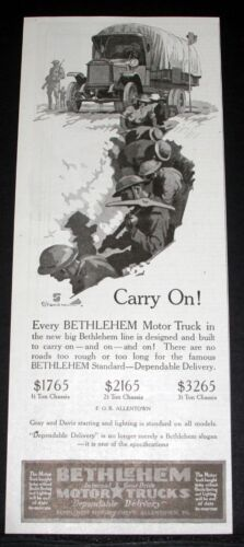 1918 OLD WWI MAGAZINE PRINT AD, BETHLEHEM INTERNAL GEAR DRIVE TRUCKS, CARRY ON!