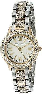 Anne Klein Women's Swarovski Crystal Accented Two-Tone Bracelet Watch MOP