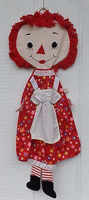 "1970 Bobbs Merrill RAGGEDY ANN PAJAMA BAG 32"" tall Red Flower Dress PJ Bag"