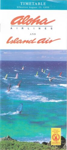 ALOHA AIRLINES ISLAND AIR SYSTEM TIMETABLE AUGUST 23, 1999 VG+
