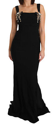 DOLCE & GABBANA Dress Black Stretch Crystal Fit Flare Gown IT40 /US6/S RRP $6000