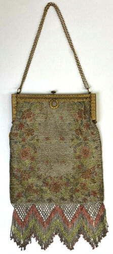 ANTIQUE STEEL Micro Beaded Purse Made in FRANCE