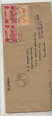Burma  cover to  US  postage   due                AT0608