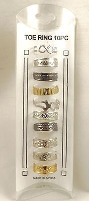 New 10 piece set of metal toe rings in gold silver and hematite Colors #R1218