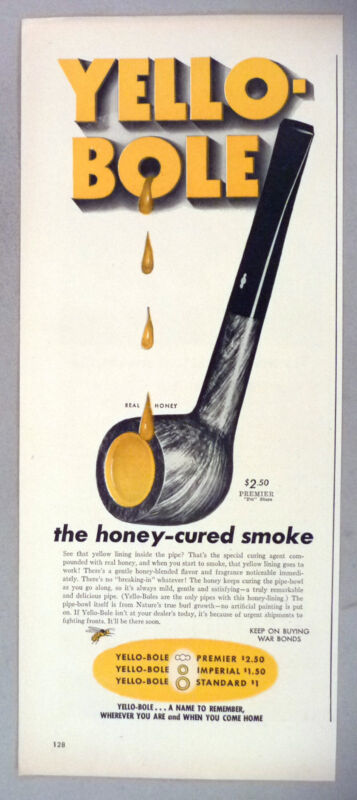 Yello-Bole Pipe PRINT AD - 1944 ~~ honey-cured smoke pipes