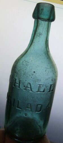 Vintage Pontil Squat Soda Beer Bottle P. Hall  Philadelphia