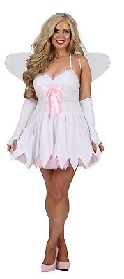 Ladies Fairy Good Mother White Fairy Fancy Dress Costume Outfit FREE WINGS (FJ) - Good Angel Costumes