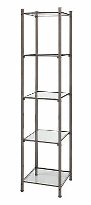 Open Display Tower - Boutique Raw Steel 5 Glass Shelves