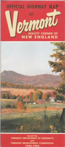 1954-55 Official State Issue Road Map Of Vermont
