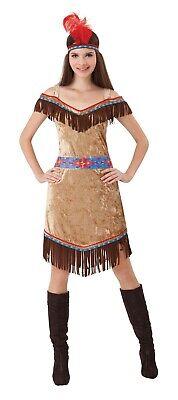 ADULT'S DELUXE AMERICAN INDIAN LADY COSTUME WOMEN'S FANCY DRESS