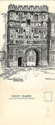 1960's CHRIST CHURCH GATE CANTERBURY KENT UNUSED BLACK & WHITE POSTCARD