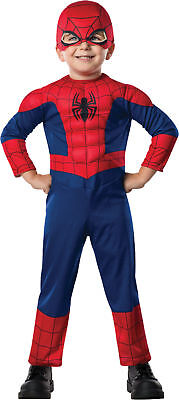 Spiderman Child Boys Costume Padded Jumpsuit And Mask Halloween Rubies Toddler (Toddlers Spiderman Costume)
