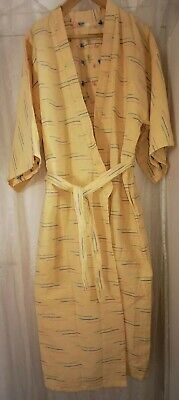 Gelber Kimono (Damen Kimono Morgenmantel Wellness Bademantel Gelb L 140 cm 100% Baumwolle Öko)