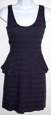 AQUA Eyelet Dress w Peplum Navy Blue XS Sleeveless Scoop Neck Stretch Cotton