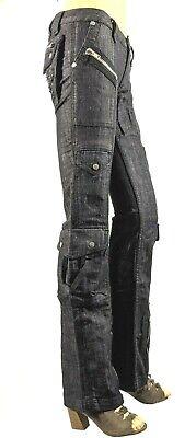 Women's Jeans Black Antik Denim,Low-Rise, Zip Flare, 9-Pocket, Size:0(23), 2(25) Low Rise Zipper Pockets