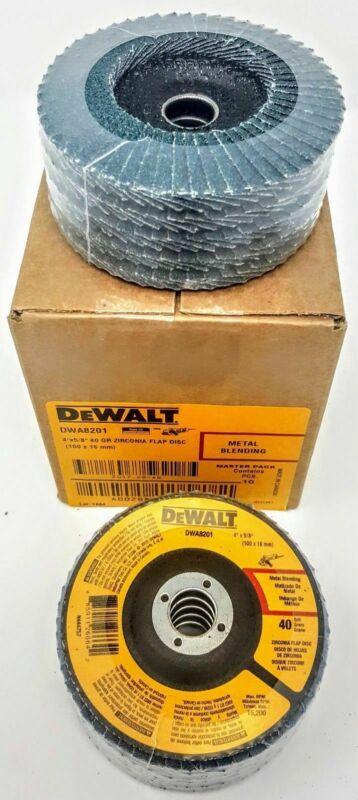 "DeWalt DWA8201 4"" x 5/8"" 40 Grit Zirconia T29 Flap Discs Metal Blending 10 Pack"