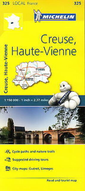 Michelin Map 325 Creuse Haute Vienne France Local Road and Tourist