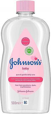 JOHNSON'S Baby Oil 500ml for Delicate Skin, Moisturises + Protects from Dryness