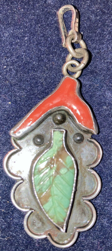 Sterling Silver Turquoise &Red Coral Leaf Pendant Mex.