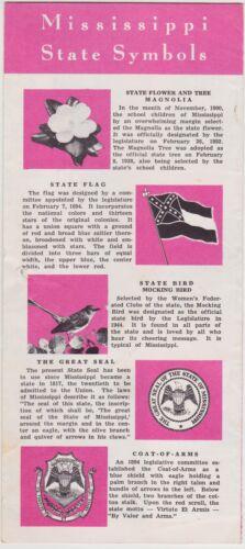 1959 Mississippi State Symbols Tourism Brochure