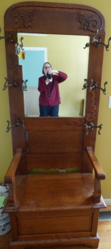 Antique Hall Tree with bench storage and mirror