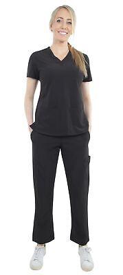 Unisex Stretch Medical Uniform, Five Pockets V-Neck Scrubs Sets with Side Panels Unisex V-neck Top