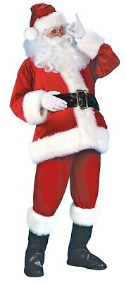 Santa Claus Costume 7Pc Velour & Faux Fur Coat Pants Hat Boot Tops Belt & Gloves - Santa Claus Coat