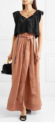 "Beautiful Brown Linen ""Avedon Days"" Skirt With Tie By KALITA - Originally £740!!"