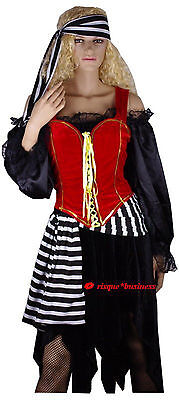 Medieval Lusty Pirate Maid Wench Fancy Corset Dress Costume - 10 12 14 16 18 20