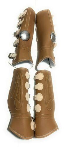 Charro Juego de Canilleras Tan Protectores Para Caballos Tan Horse Boots
