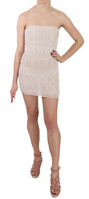 JOHN RICHMOND Dress Beige Beaded Silk Short Mini Gown IT38 / US4 / XS RRP $3200