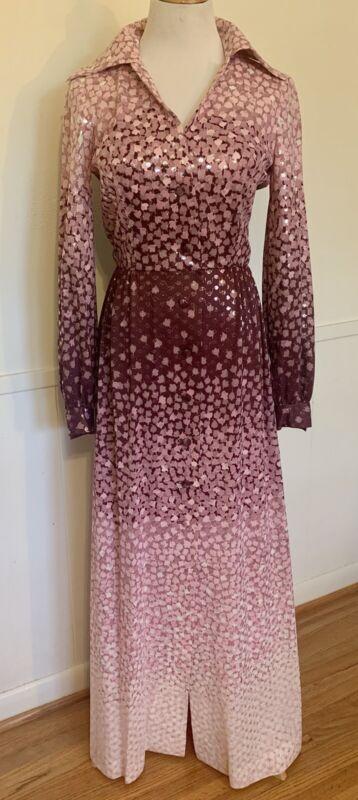Vintage Estevez Eva Gabor 70s Boho Maxi Dress Purple Pink Silver Metallic Sz M