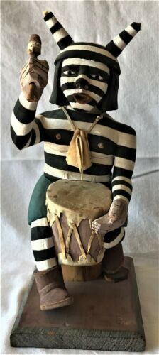 Koshari drummer clown wood carving statue Native American Edwin L. Kaye, Kachina