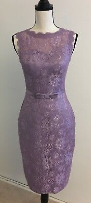 Purple Sheath/Column Scoop Neck Knee-Length Lace Bridesmaid Dress w/bow - Size 2