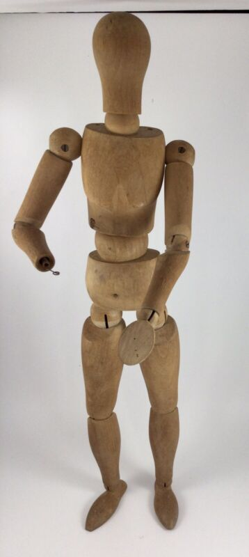 "Vintage Wooden Artist Figure Model 16"" Tall"