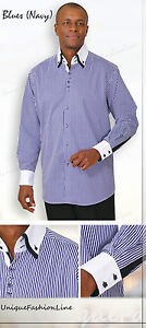Men's Stylish George Fashion Stripe Dress Shirt All Sizes and 5 Colors 606