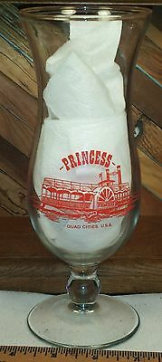 Quad Cities USA Riverboat Princess & Showboat Queen of Hearts Hurricane Glass