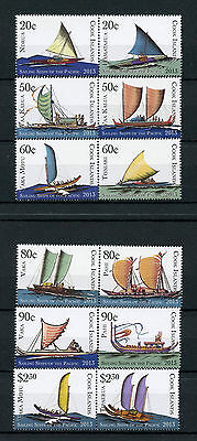 Cook Islands 2013 MNH Sailing Ships Pacific 12v Set Boats Vaka Tipaerua Stamps
