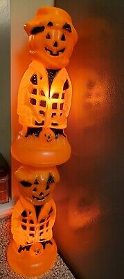 2 works Vintage Halloween Blow Mold Jack O Lantern Scare Crow Orange Black 13.5""