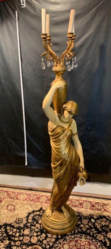 Antique Goddess Candelabra Floor Lamp