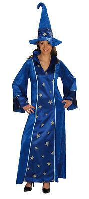 Damen Kostüm ZAUBERIN HEXE Magierin Hexenkostüm Hexenhut Halloween - Blau Hexe Kostüm